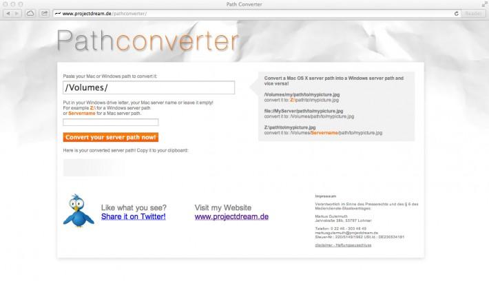 Der Pathconverter konvertiert Serverpfade zwischen Mac OS X und Windows...