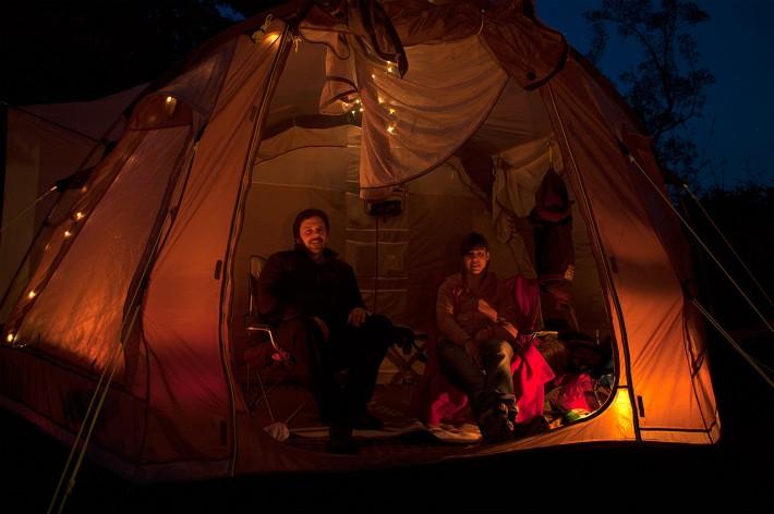 Selbstportrait in unserem Zelt